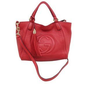 100% Auth Gucci Soho Small Red Calfskin SatchelBag